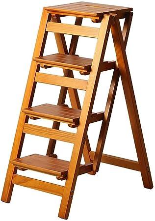 Escaleras Escalerillas Escalera de Paso Plegable 4 Pasos de Madera Ligero y Plegable para Adultos de niños para la Cocina de Loft de la Biblioteca Decoración del hogar (Color Nogal): Amazon.es: Hogar