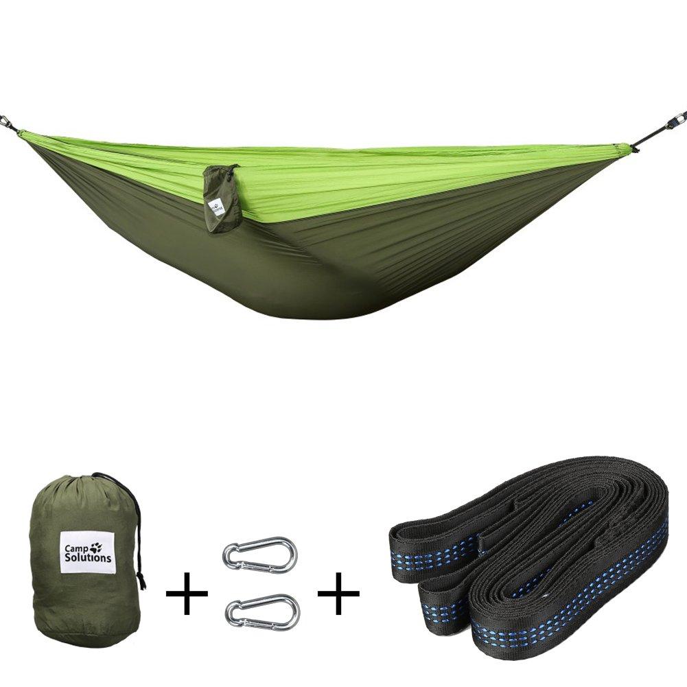 Campソリューションダブルハンモックアウトドアパラシュートハンモックベッドwithカラビナ、ツリーのバックパッキングキャンプ、ストラップ、ビーチ、ハイキング、118