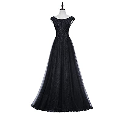 TANGFUTI Elegant Lace Long Prom Dresses with Train Sequin Formal Dresses 102BK-US16