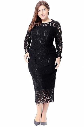 Zumeet Women Plus Size Elegant Style Party Dress Black at Amazon ... 2729e9f02