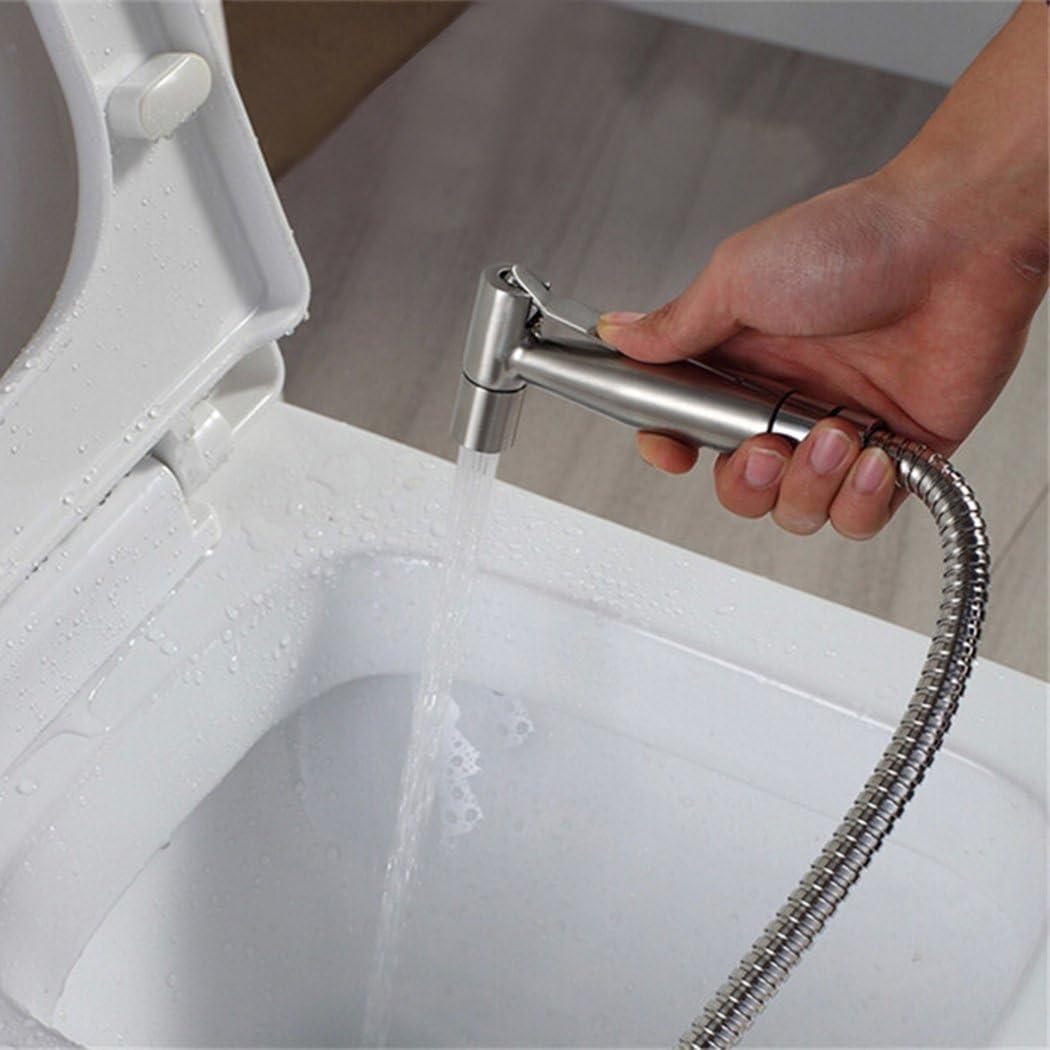 EgoEra reg; Toilet Handheld SUS304 Stainless Steel Bidet Spray Shattaf Douche Sprayer with 59-inch Extra Long Hose and Bracket Holder Bright Silver