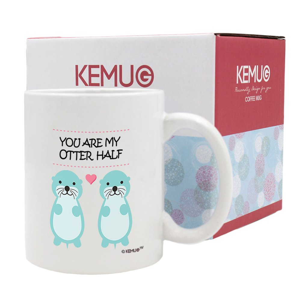 KeMug - You Are My Otter Half Coffee Cups 11 oz - Anniversary gifts,Wedding Anniversary Gifts,Birthday Gifts,Perfect gift,Romantic Gifts,Engagement Gifts for Her Zhihui Co. Ltd