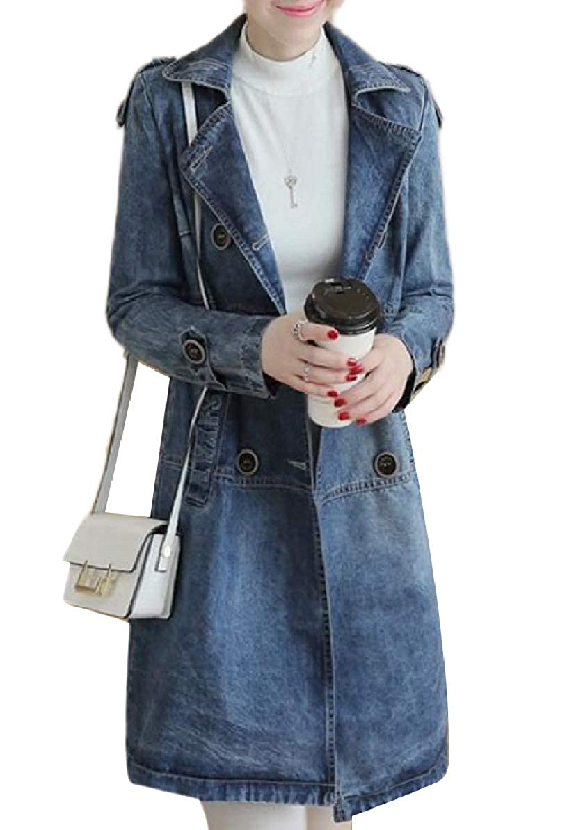 As Picture Zimase Women Double Button Baggy Style FoldCollar Denim Trench Coat Jacket