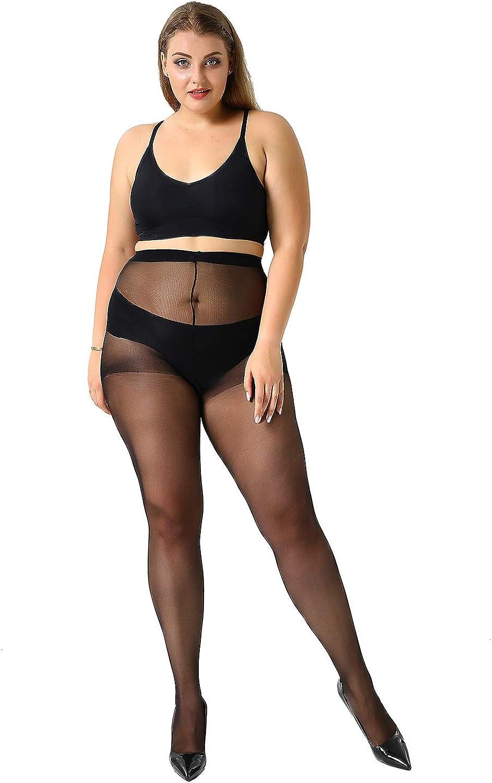 MANZI 4 Pairs Plus Size Pantyhose for Women 20 Denier Sheer Stocking