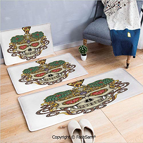 (FashSam 3 Piece Non Slip Flannel Door Mat Sugar Skull with Heart Pendants Floral Colorful Design Print Decorative Indoor Carpet for Bath Kitchen(W15.7xL23.6 by W19.6xL31.5 by W35.4xL62.9))