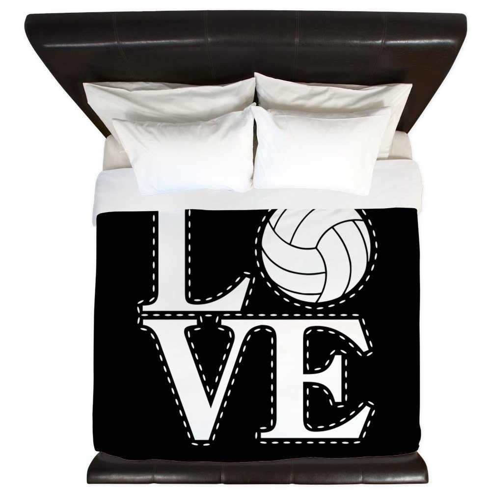 CafePress - LOVE VOLLEYBALL BLK - King Duvet Cover, Printed Comforter Cover, Unique Bedding, Microfiber