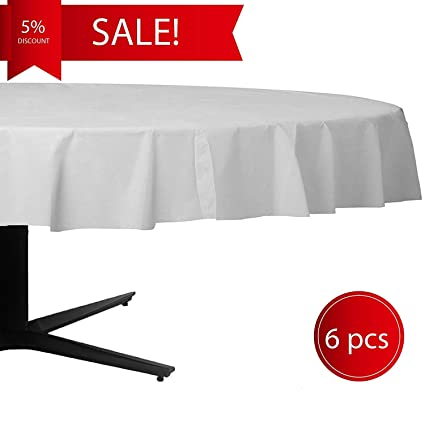 Fine Premium Plastic Tablecloth 84 Inch 6 Pack Disposable Round White Waterproof Table Cover For Wedding Birthday Parties Events And Other Ocassions Download Free Architecture Designs Grimeyleaguecom