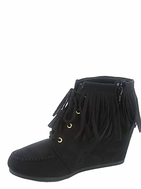 560122d9b1ae7 Cityclassfied Wig-s Women's Cute Low Wedge Lace up Zipper Fringe Oxford  Booties Shoes
