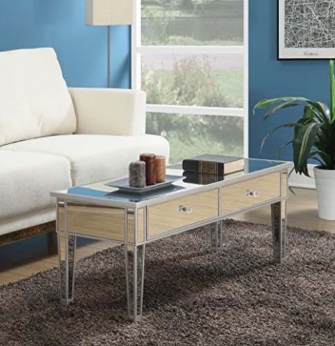 Convenience Concepts 413382SS Coffee Table with Two Drawers, Mirror/Silver Frame