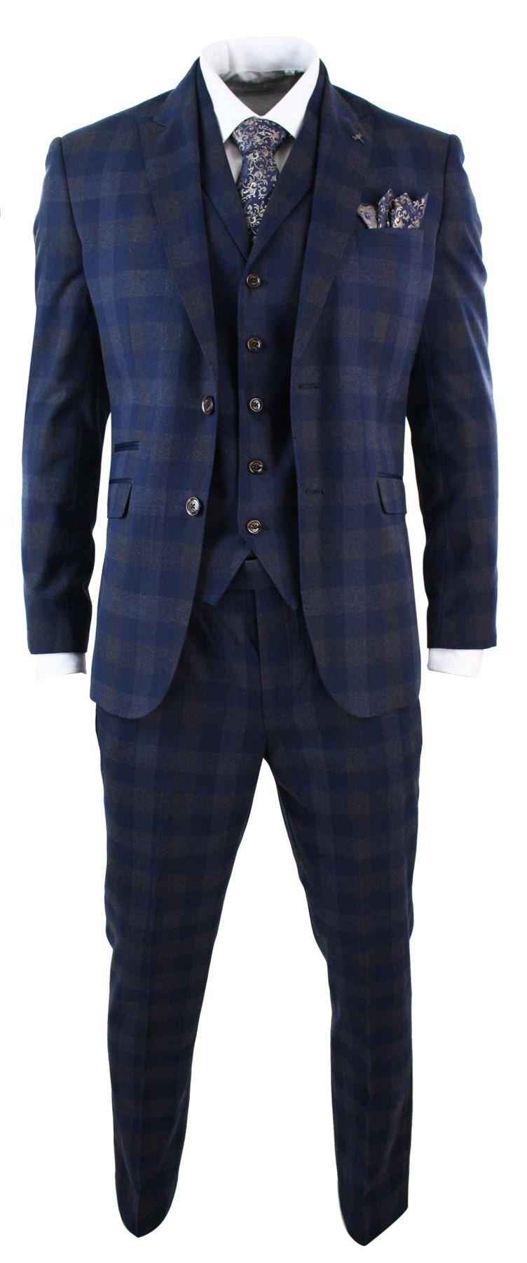 Mens Slim Fit 3 Piece Blue Check Suit Vintage Retro Smart Formal Wedding Party Prom