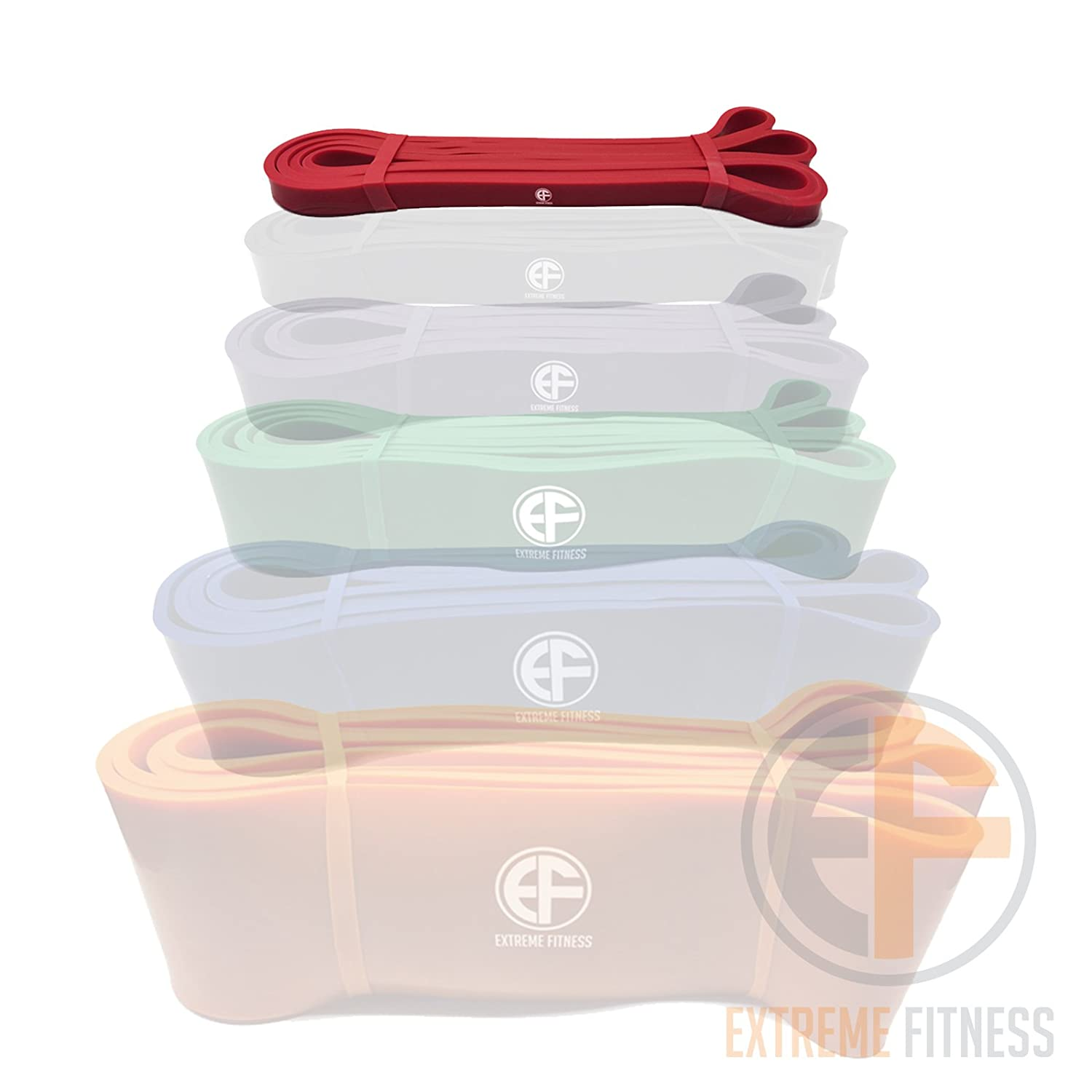 EXTREME FITNESS Resistance Power Loop Bands Premium Latex Assisted Pull Up Fitness Exercise Bands Workout Strap Exercise Crossfit Bands for Strength Weight Training and Yoga