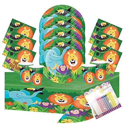 Jungle Safari Party Plates Napkins Cups and Table Cover (Serves-16) - Jungle Safari Party Supplies Pack Deluxe (Bundle for 16)