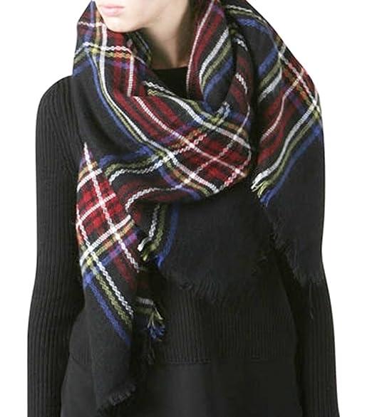 plaid blanket scarf tartan plaid scarfchristmas present black - Christmas Plaid Scarf