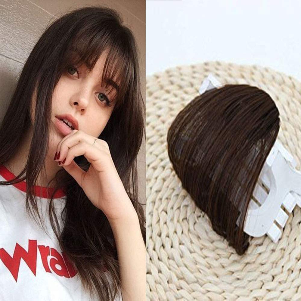 Amazon.com   LaaVoo Black Brown Human Hair Extensions Clip on Air Hair  Bangs Secret Bangs Real Hair Pieces for Women   Beauty 41526904a