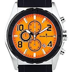 Studer Schild Men's Carver chronograph watch, silicone strap, luminescent hands