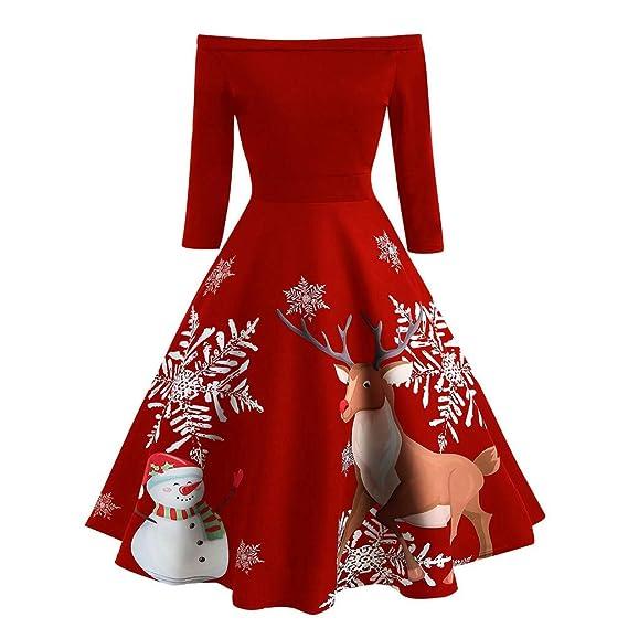 friendGG ❤️❤ Weihnachtskleid Damen Elegant Kleider Festlich Cocktailkleid Vintage Rockabilly Kleid Weihnachtsmotiv Damen Ärmellos Retro Kleid