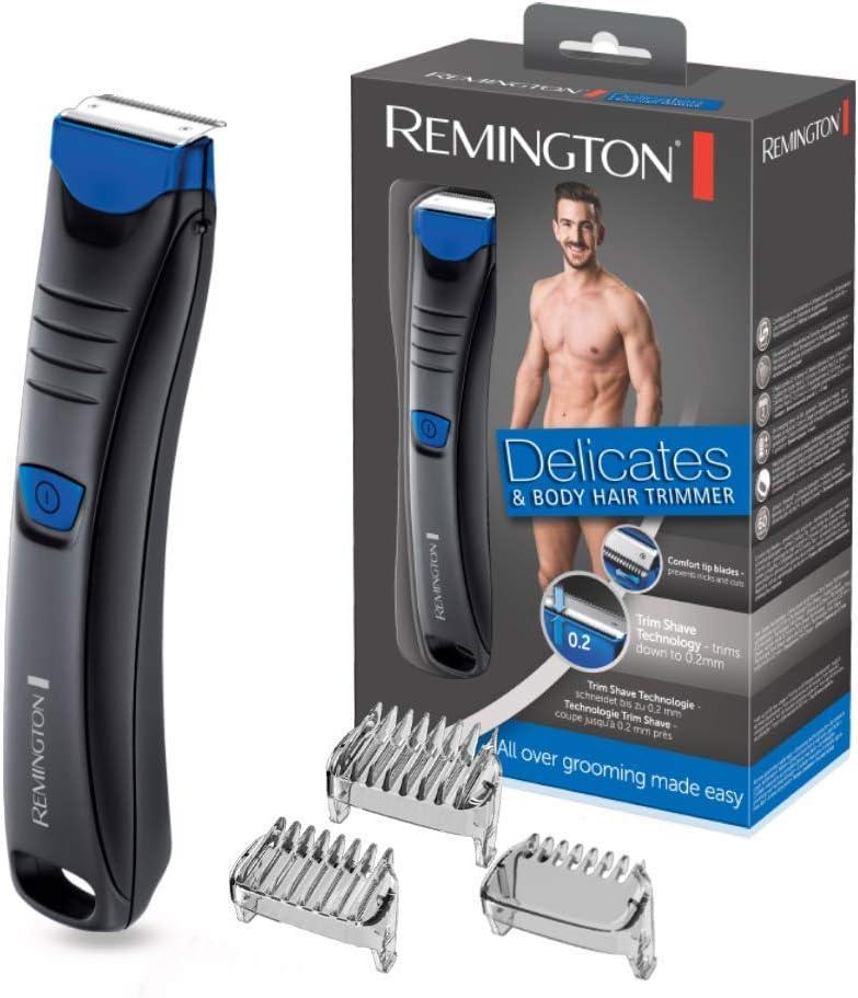 Remington BHT250 Delicates - Afeitadora Corporal, Cuchillas de Acero Inoxidable, Inalámbrica, Uso Seco y Mojado, Negro