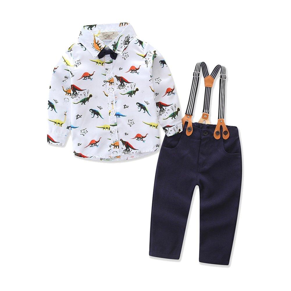 MissChild Bebé Niño Ropa Camisa/Bodysuit de Manga Larga + Pantalones de Tirantes Conjunto de Caballeros de Otoño con Caballero Bowtie