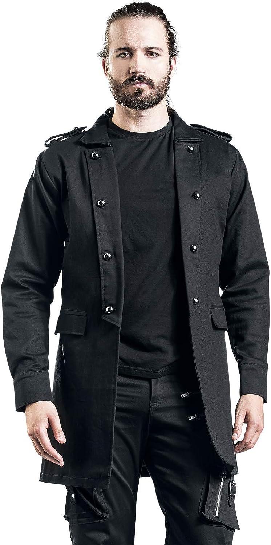Gothicana by EMP Short Coat with Turned Lapel Hombre Abrigos y Chaquetas Negro,