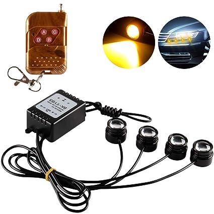 4 en 1 Coche Moto LED Eagle Eye Luz de Advertencia de Luz ...