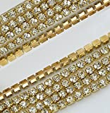 Black Menba 32.8 Feet Sparkle Crystal Rhinestone Close Claw Chain 2mm Clear Trim Sewing Craft DIY Cell Phone Case(gold)