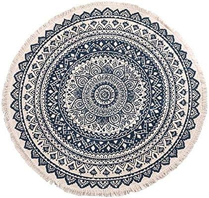 Alfombra redonda con borla tejida a mano alfombras de algodón ...