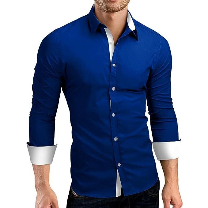 166cf9ff1 JiaMeng Polos Manga Larga Hombre Camisa de Vestir de Corte Slim sólida  Formal Informal