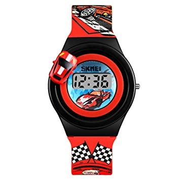 Gskj Reloj Infantil Moda Encantador Reloj Digital Modelo de Coche Giratorio Adecuado para niña niño,Red: Amazon.es: Deportes y aire libre