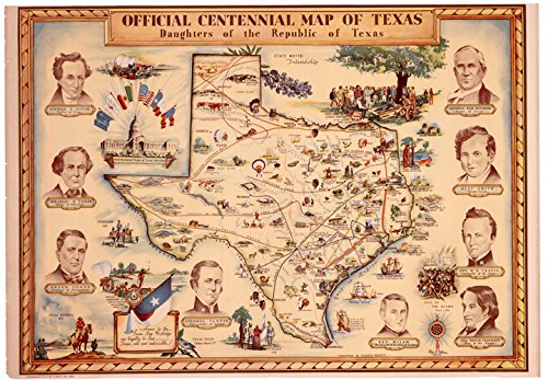 Map Reproductions Historical (DRT Old Historical 1936 Texas Map Reproduction 18