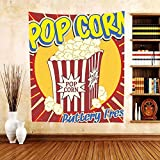 Gzhihine Custom tapestry 1950s Decor Collection Vintage Grunge Style Pop Corn Commercial Print Old Fashioned Cinema Movie Film Snack Artsy Work Bedroom Living Room Dorm Tapestry Multi