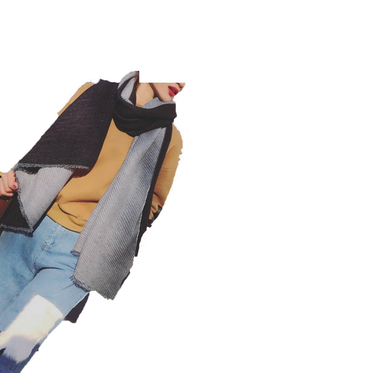 DIDIDD Bufanda doble pliegue de doble cara que espesa el chal grande caliente,Negro,190 * 65cm