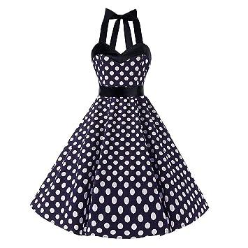 Sexy Dot Kleider Ärmellos Polka Damen Yingsssq Vintage Neckholder j3A45RL