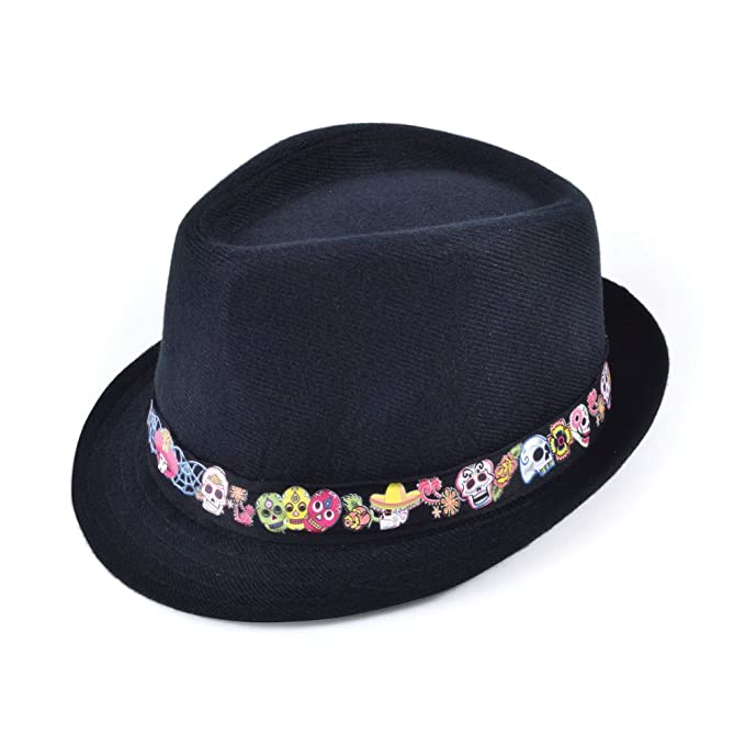 Amazon.com  Day Of The Dead Fedora Hat  Clothing bdff238d7bf