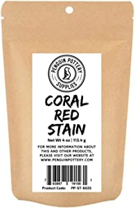 Penguin Pottery - Coral Red Stain - 1/4 lb- Colorant for Clay, glazes, Clay Slip