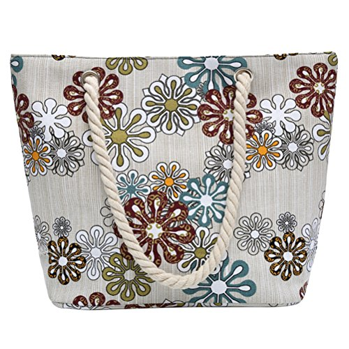 Zhhlaixing Bag Printed Large And Durable Beach Bag Shopping Trip Bag Ladies Dual-use Flower Printed Women