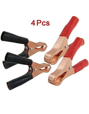 SODIAL(R) 2 Pares de Pinzas de Cocodrilo Recubierto de Cobre Aislado para Bateria