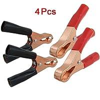 WOVELOT 2 Pares de Pinzas de Cocodrilo Recubierto de Cobre Aislado para Bateria de Coche 50A Rojo Negro