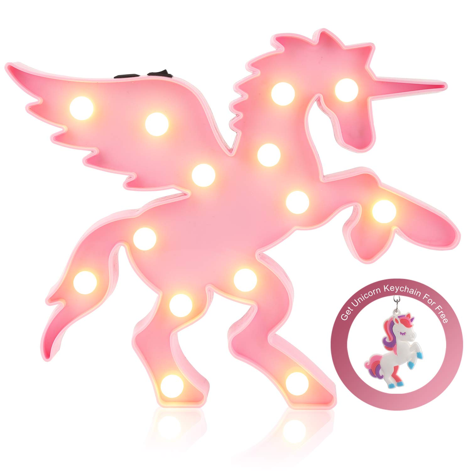 Unicorn LED Night Lamp Decorative Marquee Signs Light-Wall Decoration for Living Room,Bedroom(battery Opearted) (Unicorn Head) Glintee