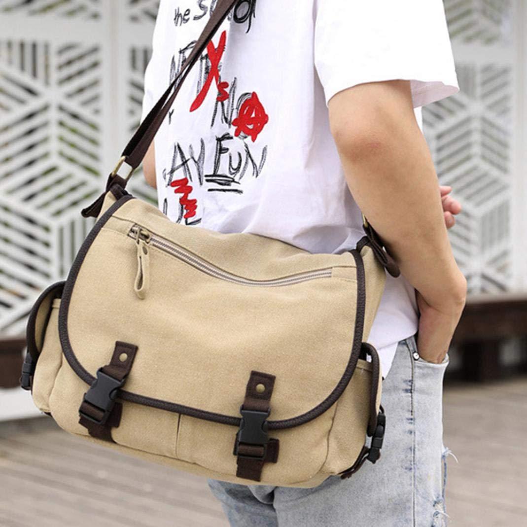 piRA8 Canvas Bag Casual Men Multi Pockets Flap Tote Messenger Pouch Crossbody Shoulder