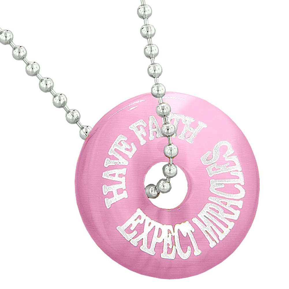 Inspiration Have Faith Expect Miracles Amulet Lucky Charm Donut Pink Simulated Cats Eye 22 Inch Necklace