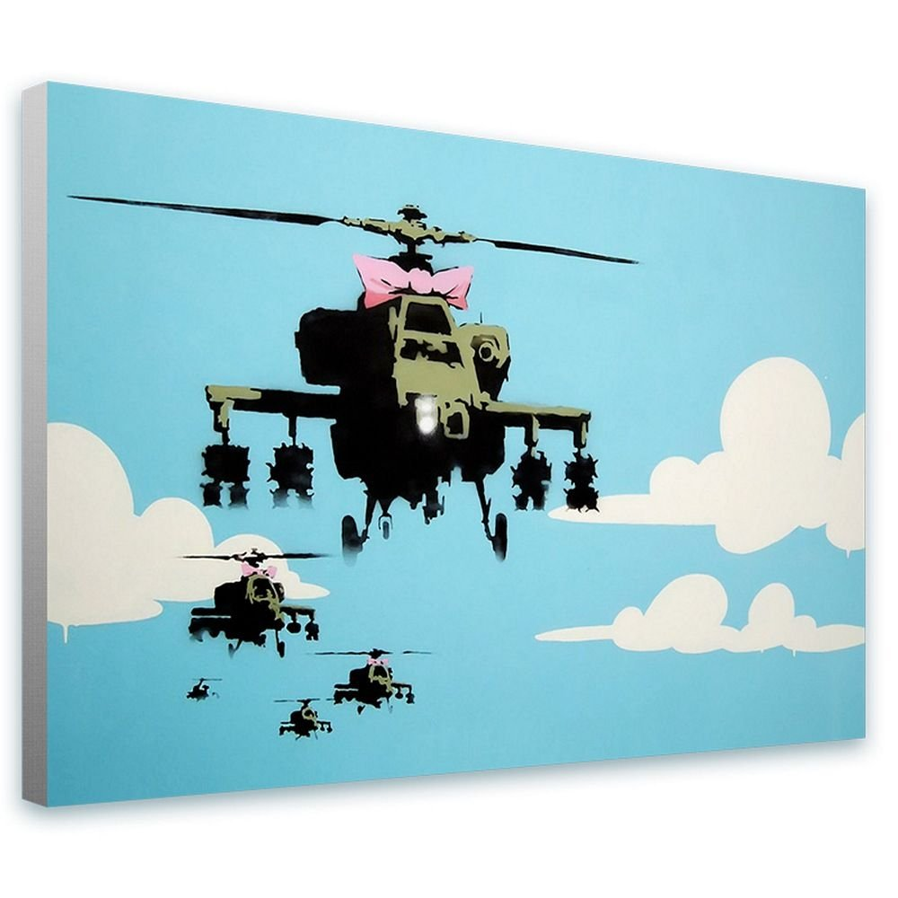 Alonline Art - Helicopter Apache by Banksy | framed stretched canvas on a ready to hang frame - 100% cotton - gallery wrapped | 41''x27'' - 103x69cm | Wall art home decor for toilet artwork paint by Alonline Art