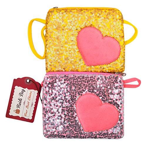 Heidi Bag Girl 2Pcs Sequin Tote Handbag Sweet Heart Patch Shoulder Crossbody Bag Small Wallet Gold&Pink (Heart Girl Wallet)