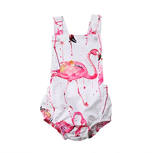 b35d859cc4a Amazon.com  ABEE Newborn Baby Girls Cotton Flamingo Romper Bodysuit Jumpsuit  Outfits Clothing  Clothing