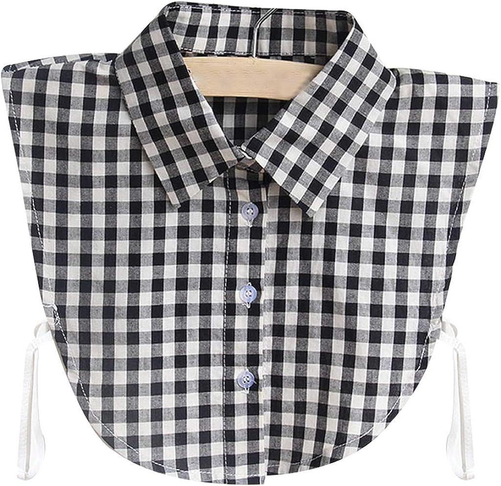 BASSK - 1 manta para mujer, estilo retro, con estampado de camisa y cuello falso y cuello desmontable de algodón y media camisa, corbata, ropa ajustable Bk 1: Amazon.es: Ropa y accesorios