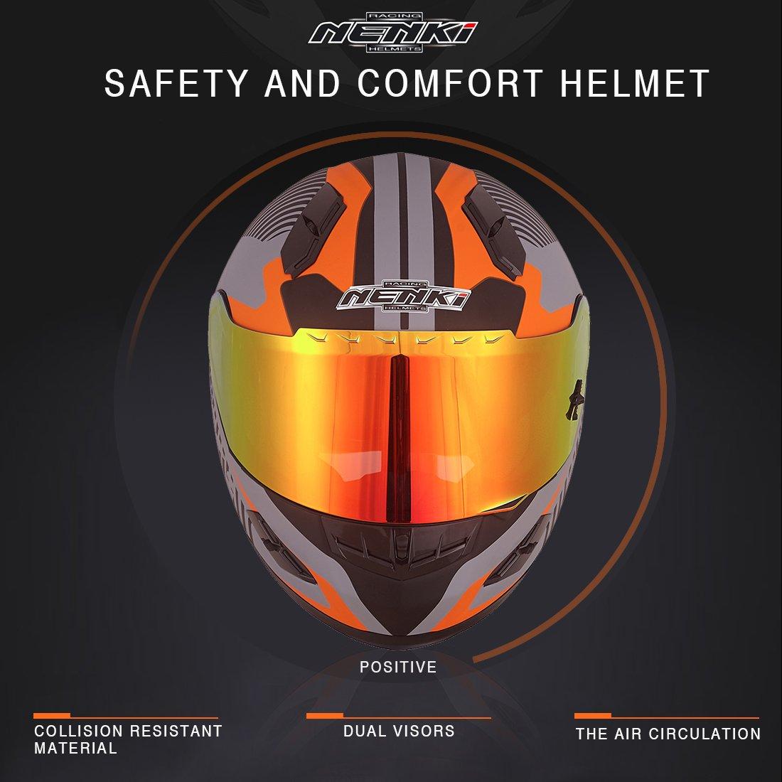 Cascos integrales NENKI para motocicleta. Cascos de motocicleta. Con aprobación DOT. Visera con iridio rojo y pantalla solar interior.