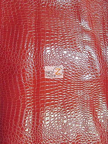 (Big Z Fabric Vinyl Faux Fake Leather Pleather Embossed Shiny Alligator Fabric by The Yard DIY Upholstery Accessories (Red) )