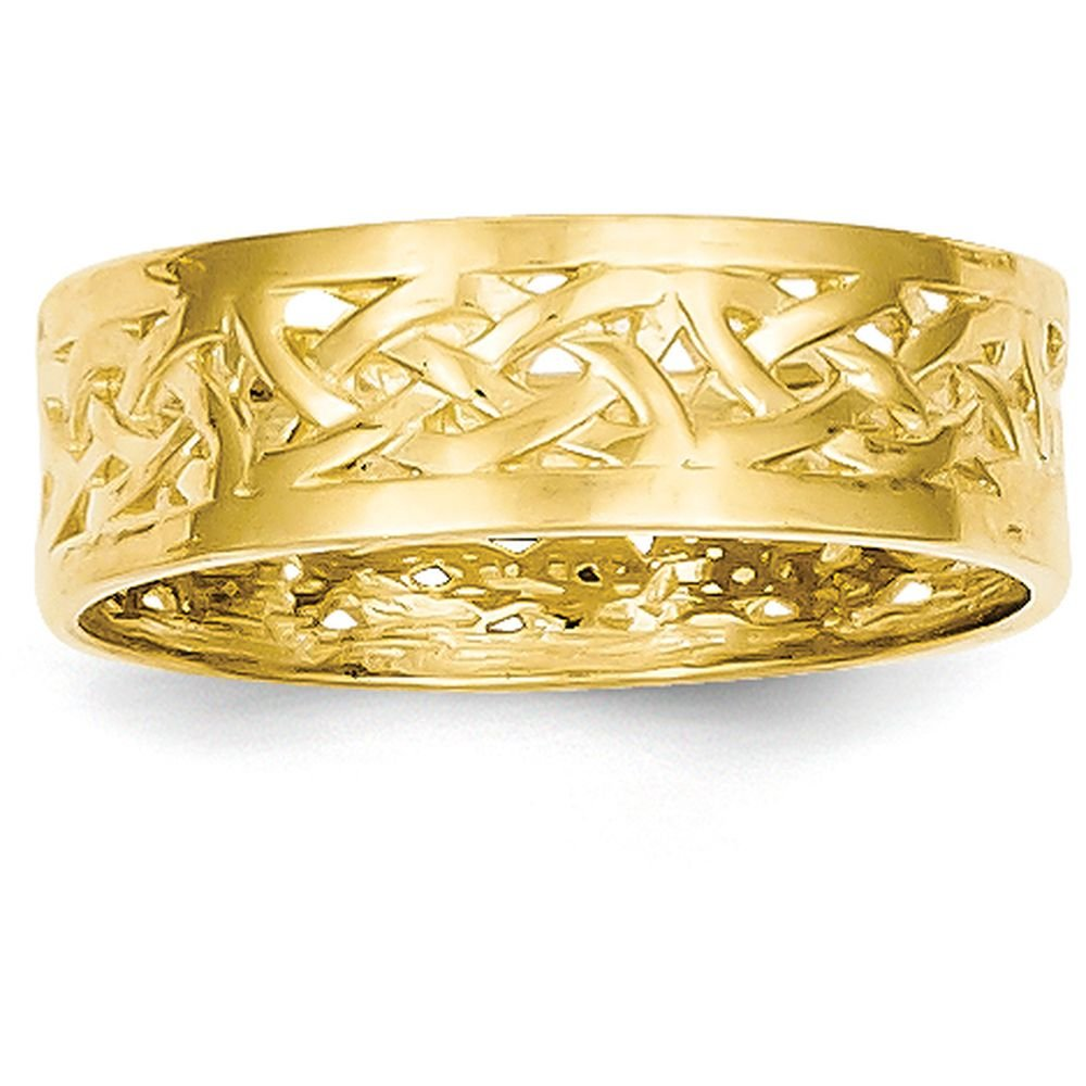 14k Yellow Gold Polished Celtic Knot Band (6mm Width) - Size 7.5 by JewelrySuperMartCollection