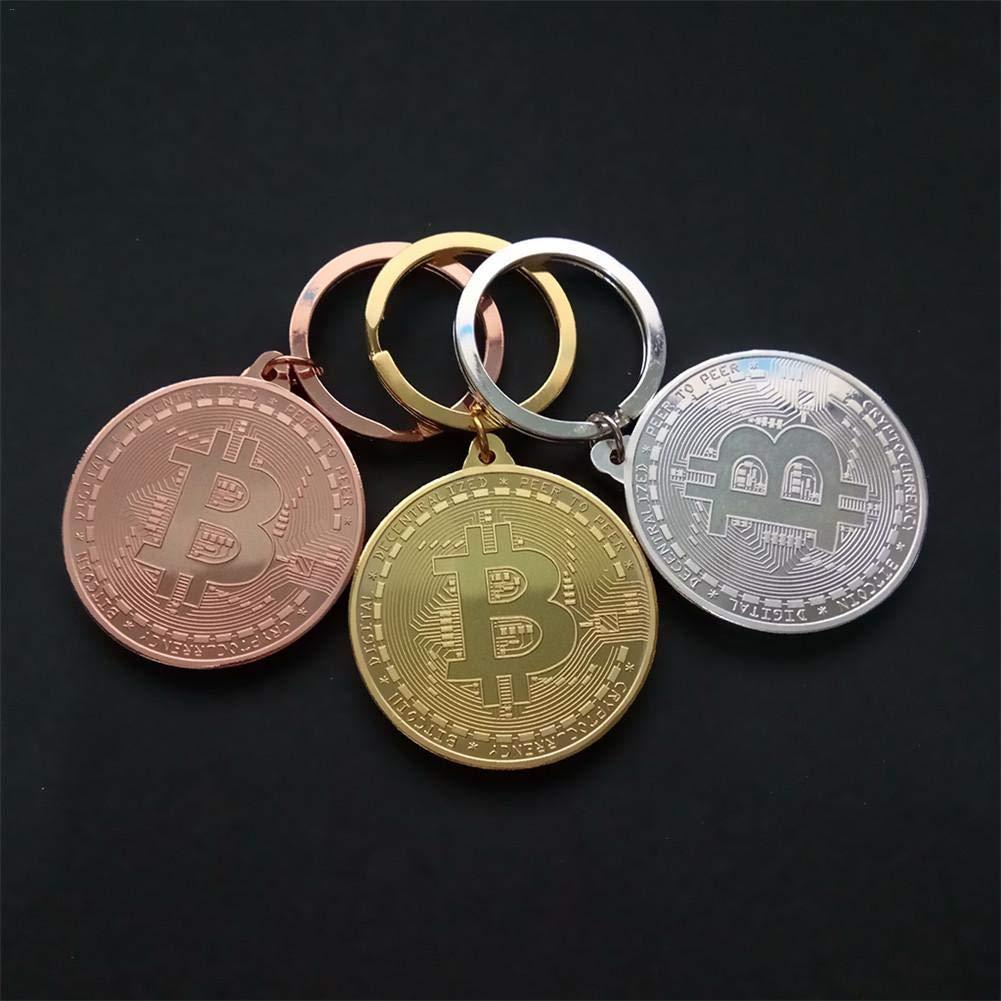 Regali aziendali Regali 3PCS Portachiavi Portamonete Bitcoin Placcato Oro per BTC Coin Art Collezionismo e Souvenir