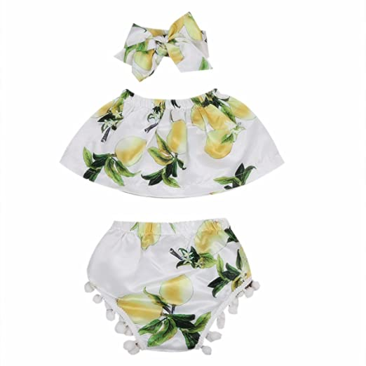 f6154c32a1 Toddler Baby Girls Lemon Outfit Sets Off Shoulder Top Fur Ball Shorts with  Headband (0