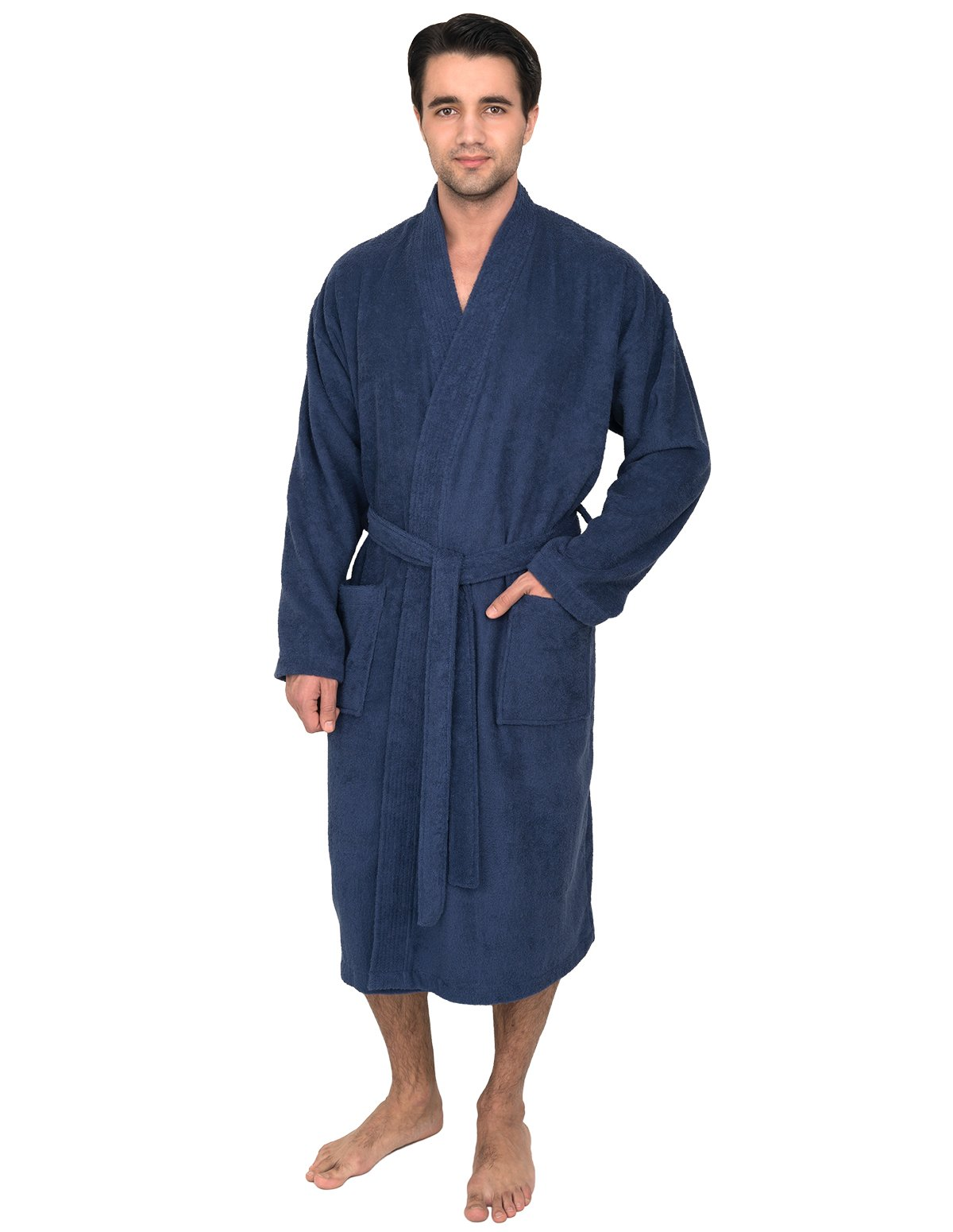 TowelSelections Men's Robe, Turkish Cotton Terry Kimono Bathrobe Large/X-Large Twilight Blue by TowelSelections